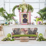 Bohemian chic island beach seating area and bar
