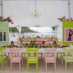 Bahamian pastel colored inspired beach dinner tables